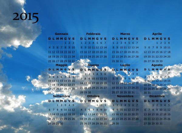 Calendario cielo splendente del 2015