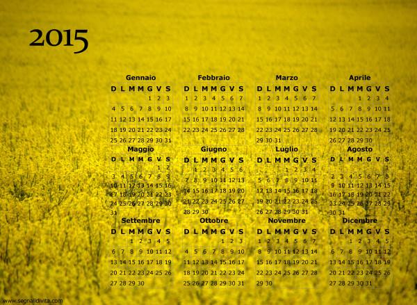 Calendario giallo fiorito del 2015