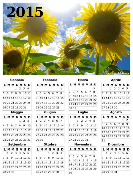 Calendario dei girasoli del 2015