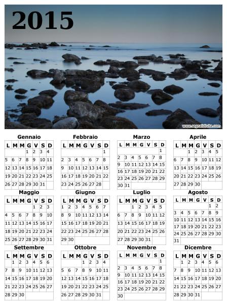 Calendario in riva al mare del 2015