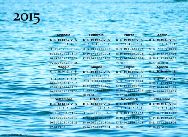 Calendario onde del mare del 2015