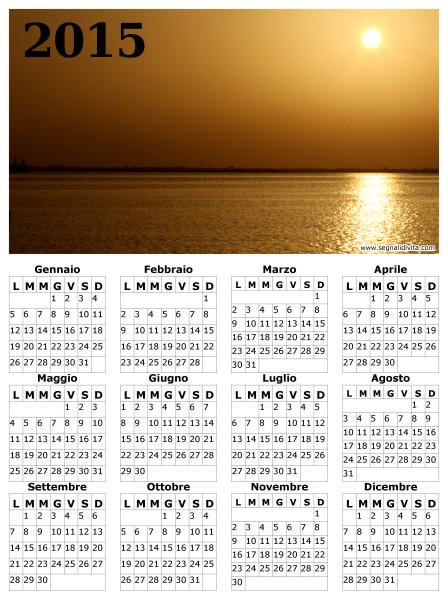 Calendario del 2015 tramonto