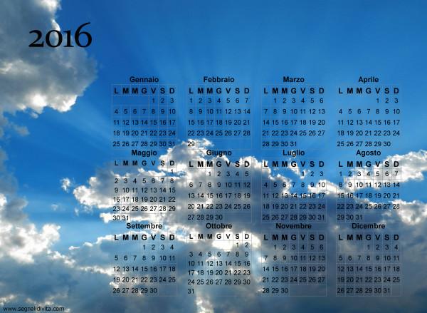 Calendario cielo splendente del 2016