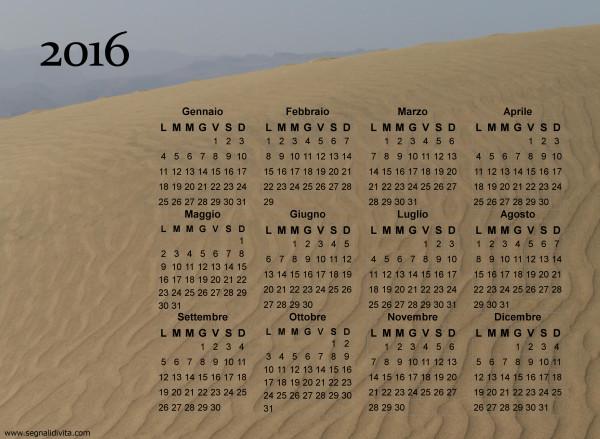 Calendario duna di sabbia del 2016