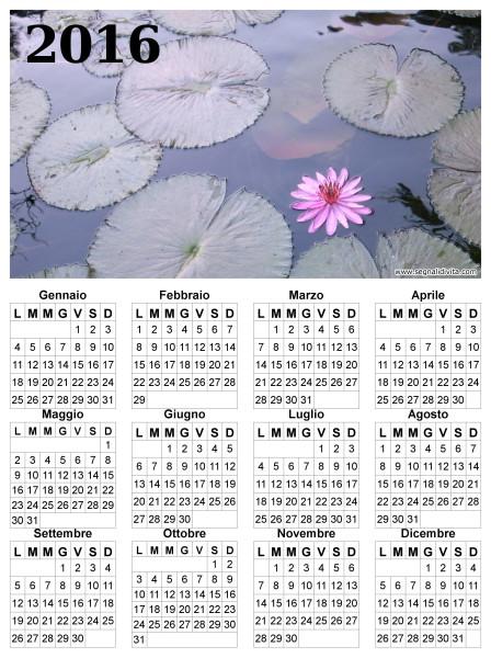 Calendario fior di loto del 2016