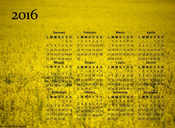 Calendario giallo fiorito del 2016