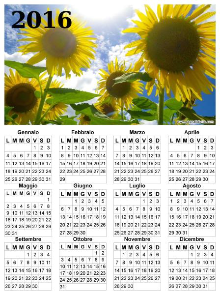 Calendario dei girasoli del 2016