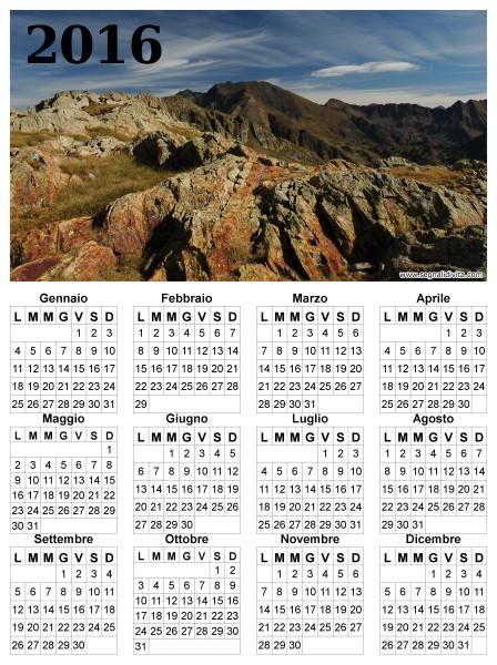 Calendario montagna del 2016