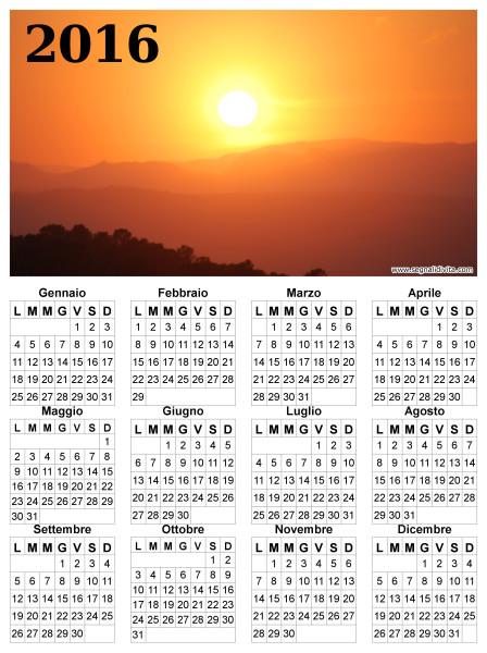 Calendario radioso del 2016