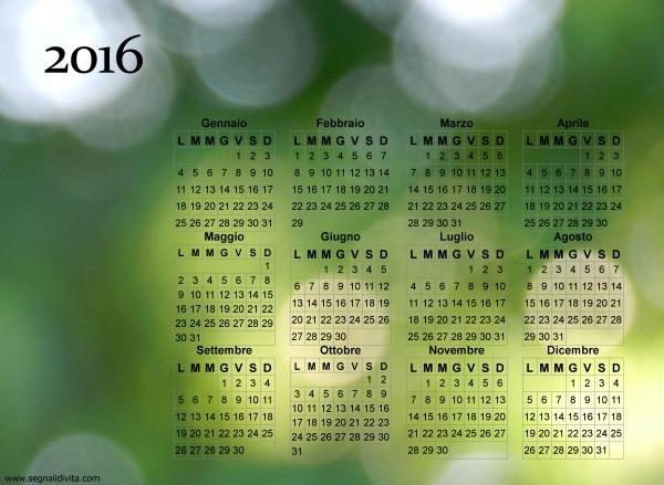 Calendario dei riflessi del 2016
