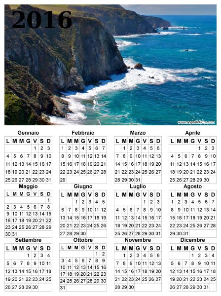 Calendario delle scogliere del 2016