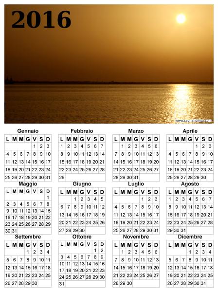 Calendario del 2016 tramonto