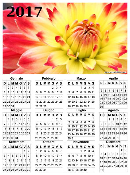 Calendario con fiore del 2017