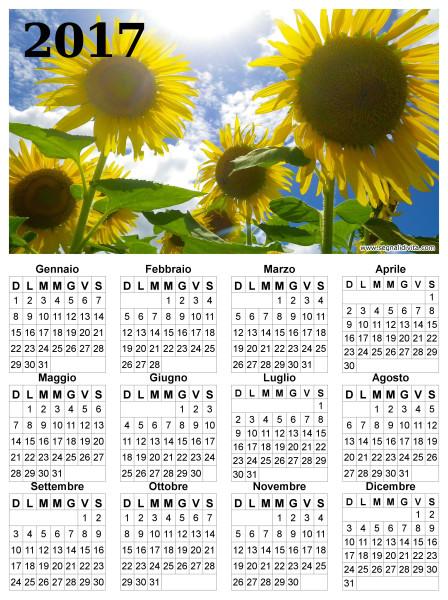Calendario dei girasoli del 2017