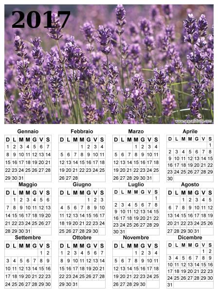 Calendario lavanda del 2017