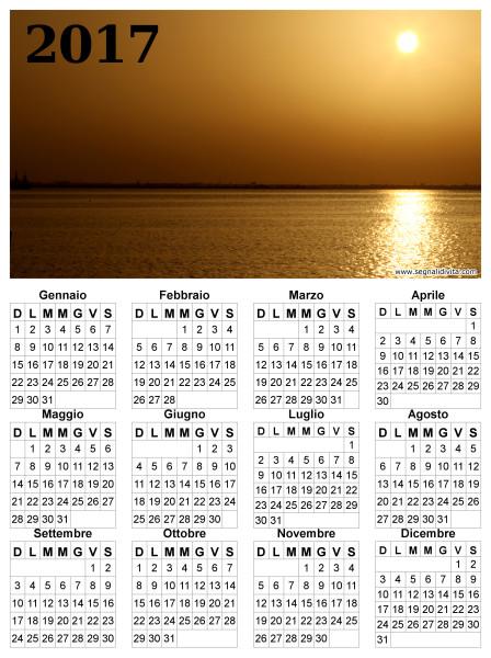 Calendario del 2017 tramonto