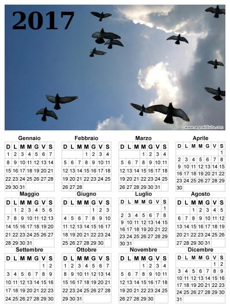Calendario uccelli in volo del 2017