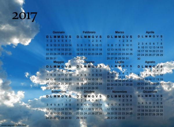 Calendario cielo splendente del 2017