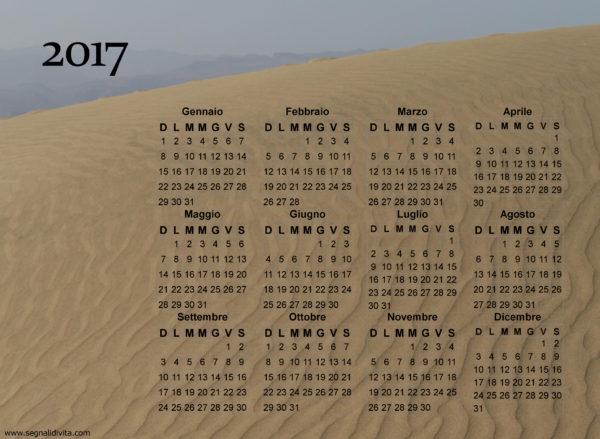 Calendario duna di sabbia del 2017