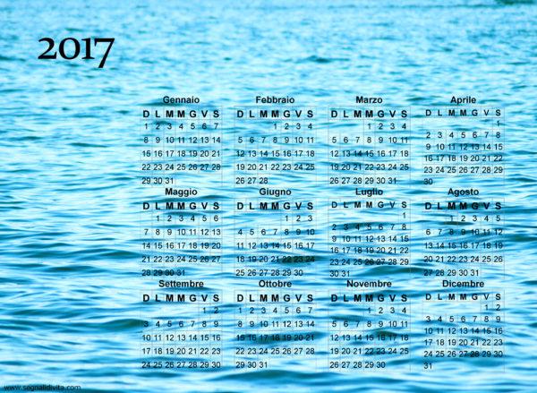 Calendario onde del mare del 2017