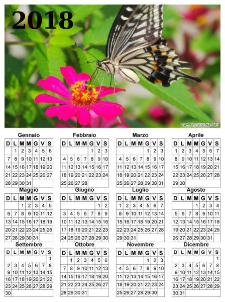 Calendario con farfalla del 2018