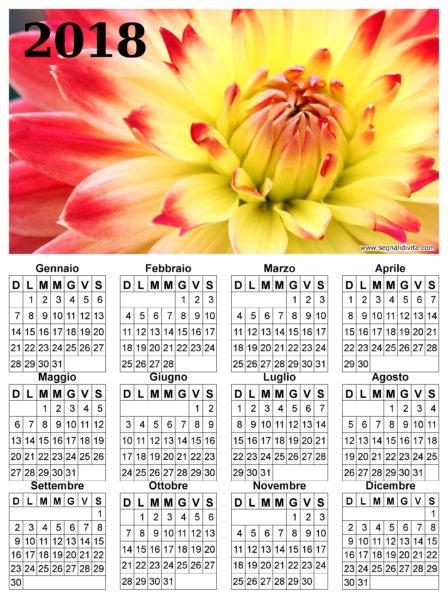 Calendario con fiore del 2018