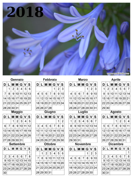 Calendario fiori del 2018
