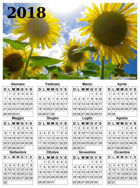 Calendario dei girasoli del 2018