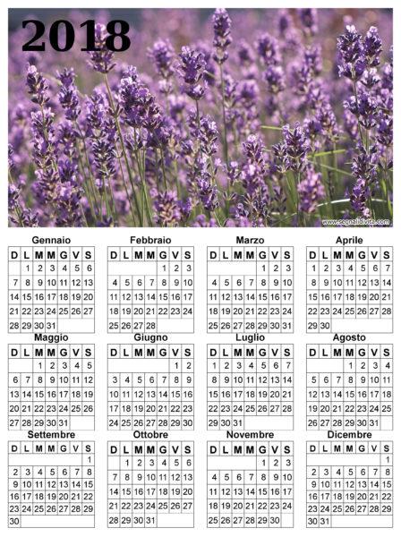 Calendario lavanda del 2018
