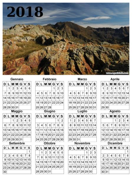 Calendario montagna del 2018