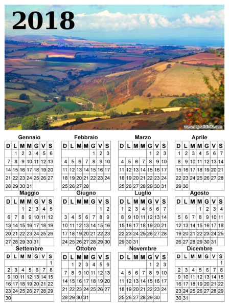 Calendario con panorama del 2018