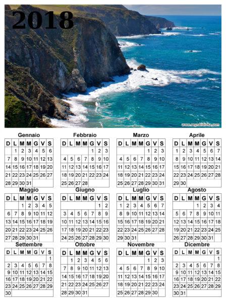 Calendario delle scogliere del 2018