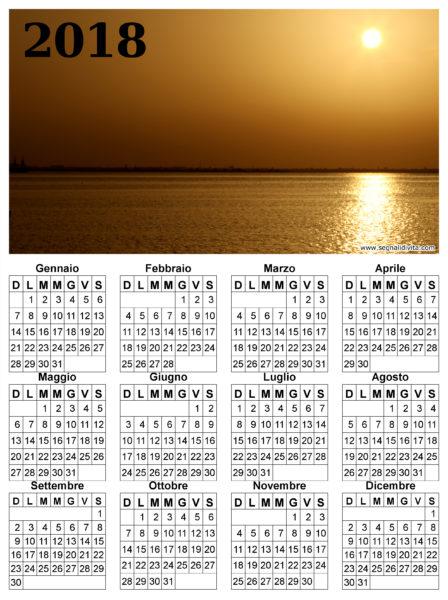 Calendario del 2018 tramonto