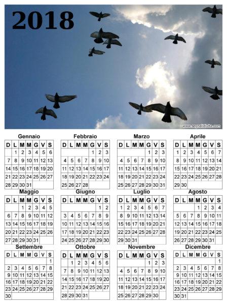 Calendario uccelli in volo del 2018