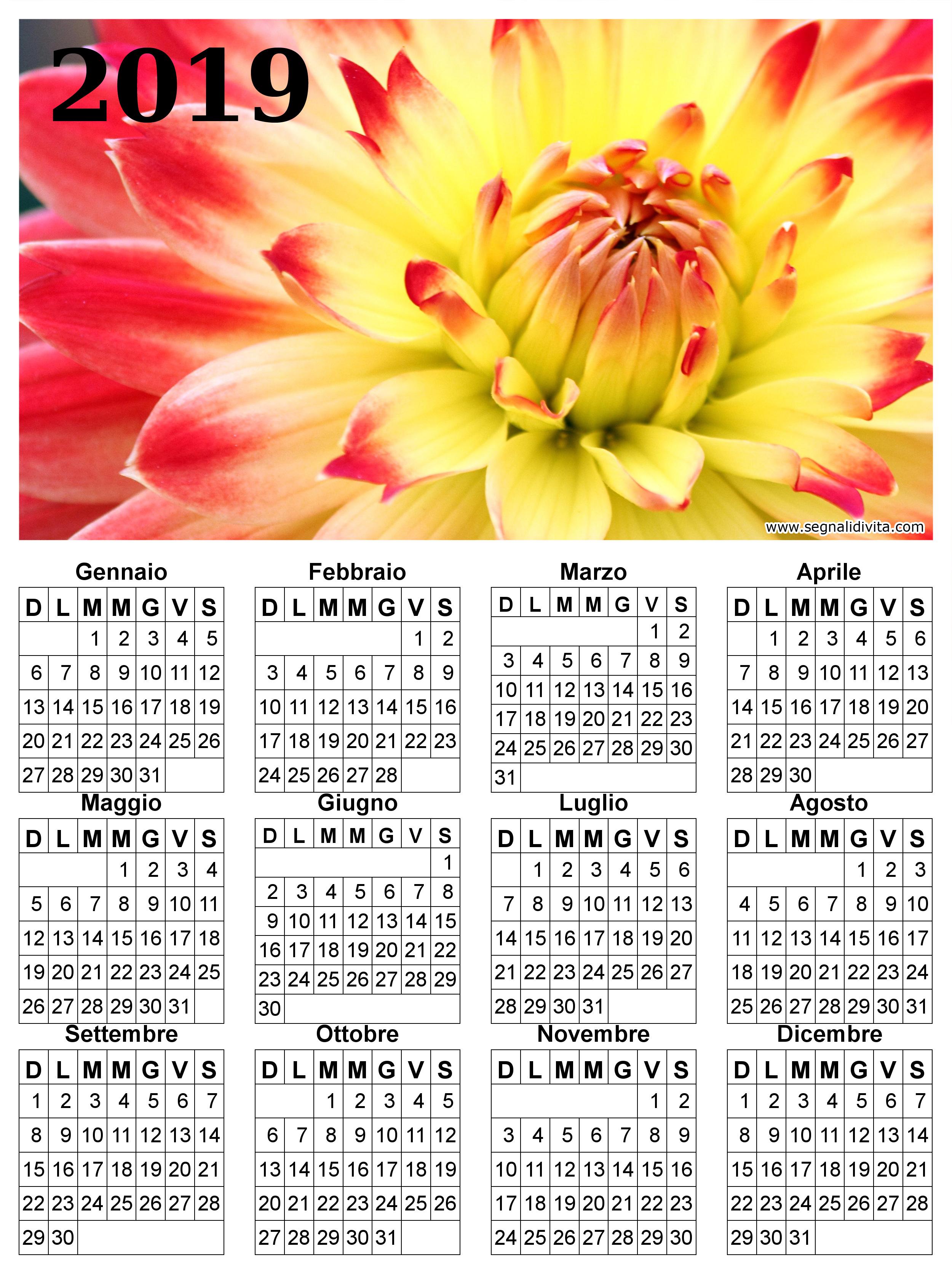 Calendario con fiore del 2019