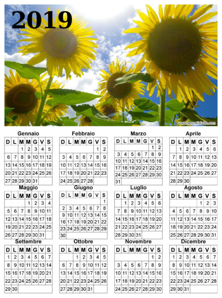 Calendario dei girasoli del 2019