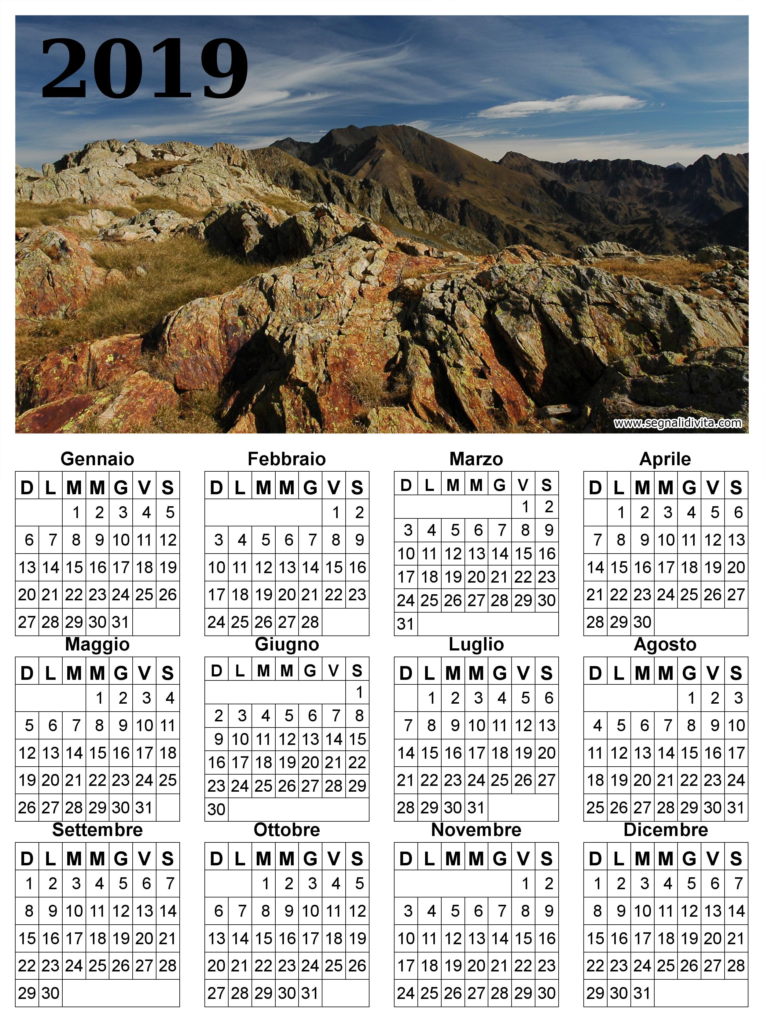 Calendario montagna del 2019