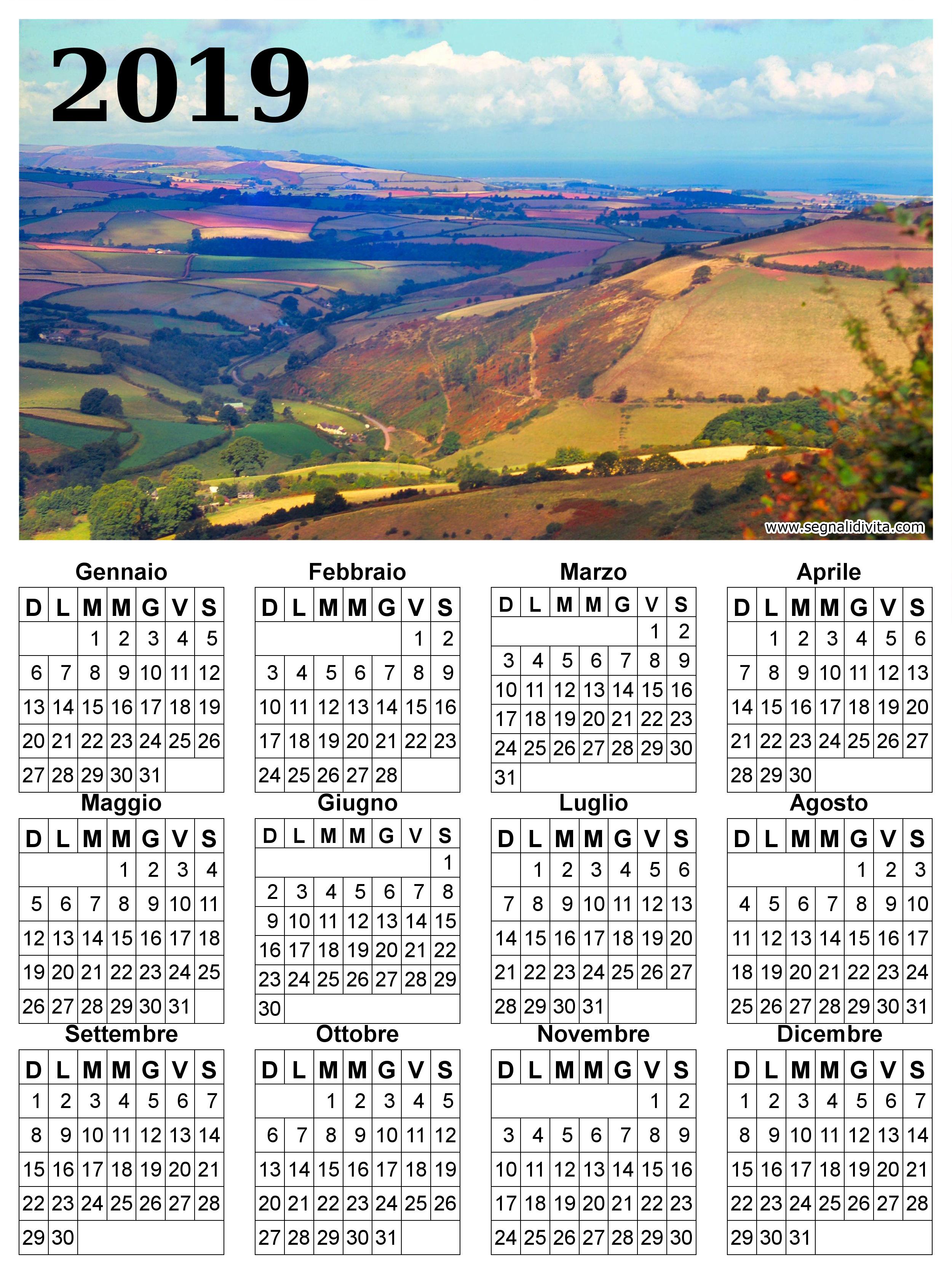 Calendario Panorama.Calendario Con Panorama Del 2019 Calendari Da Scaricare Gratis