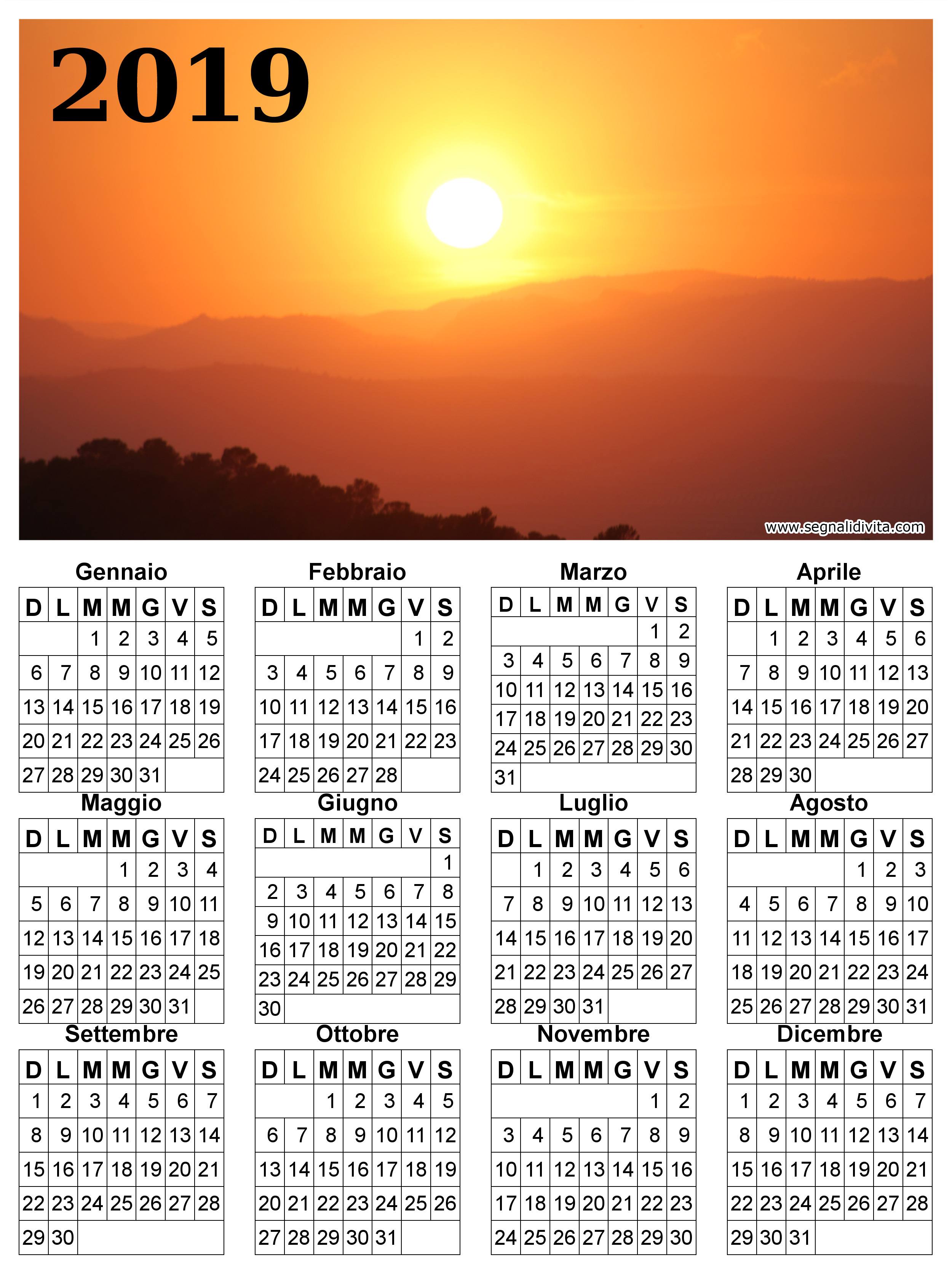 Calendario radioso del 2019