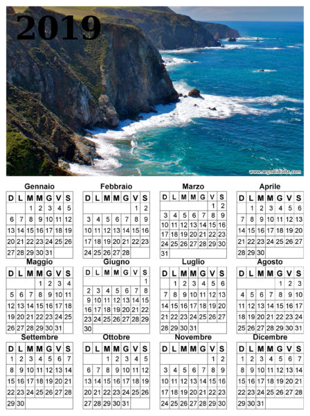 Calendario delle scogliere del 2019