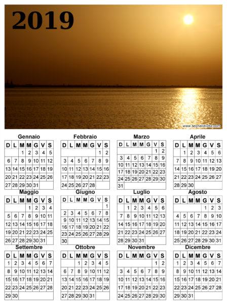 Calendario del 2019 tramonto