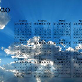 Calendario cielo splendente del 2020