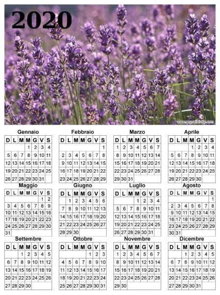 Calendario lavanda del 2020