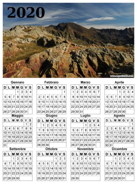 Calendario montagna del 2020