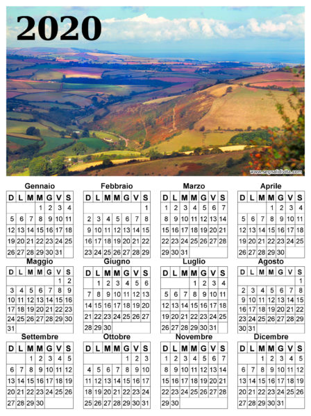 Calendario con panorama del 2020