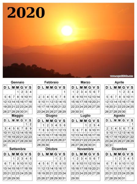 Calendario radioso del 2020