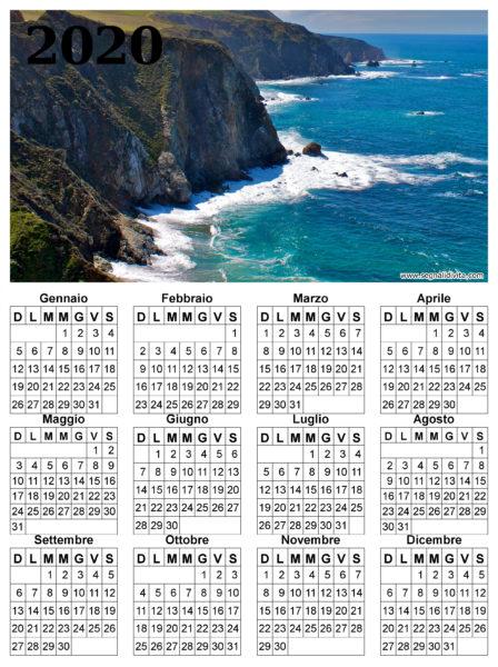 Calendario delle scogliere del 2020