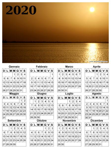 Calendario del 2020 tramonto