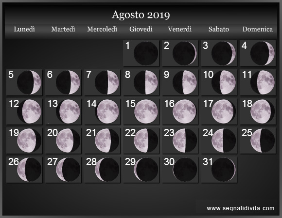 Calendario Lunare Agosto 2019 :: Fasi Lunari