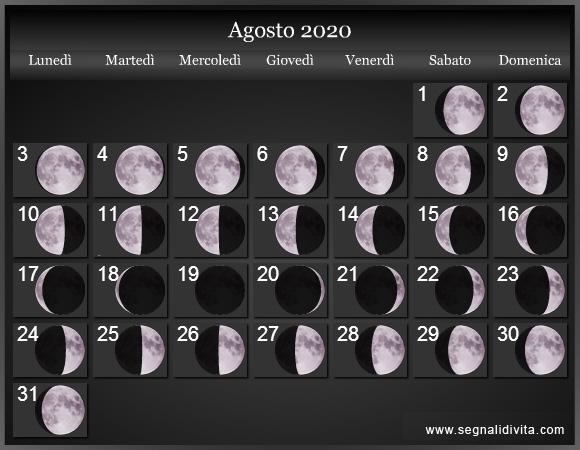 Agosto 2020 Calendario.Calendario Lunare Agosto 2020 Fasi Lunari Calendario Lunare
